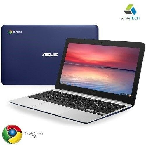 "Asus Chromebook Navy Blue 11.6"" C201PA DS02 Quad Core 1.8G 4GB 16GB SSD eMMC"