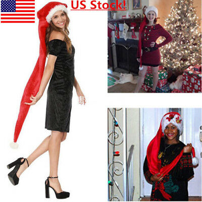 US SHIP Christmas Long Santa Claus Hat Adult Kids Red Plush Costume Xmas Cap HOT](Kids Santa Claus Costume)