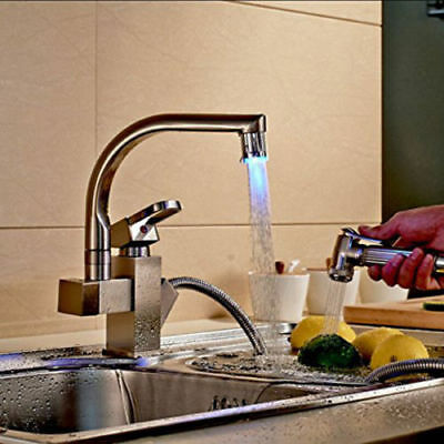 Brushed Nickel Kitchen Faucet LED Unveil Swivel Spout Pull Out Spray Mixer Tap