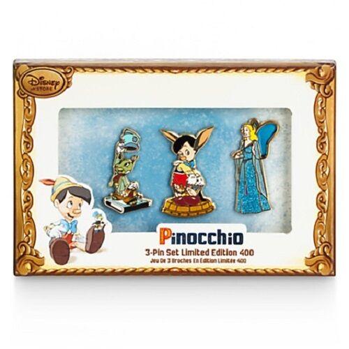 Disney Store Pinocchio Limited Edition LE 400 Pin Set Jiminy Blue Fairy J43 NIB