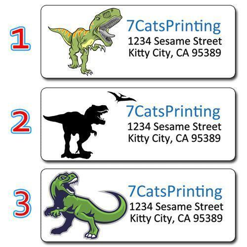 30 Dinosaur Return Address Labels Tyrannosaurus Rex T-Rex Dino Prehistoric