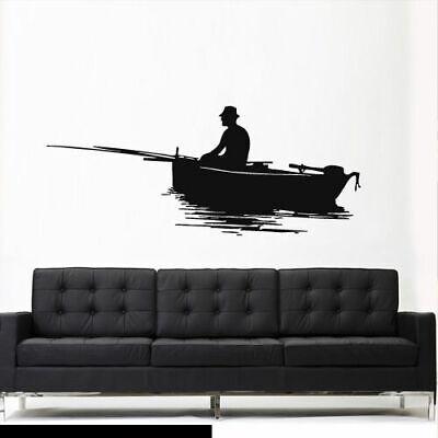 Wall Vinyl Sticker Bedroom Decal Fisherman Fish Fishing Boat