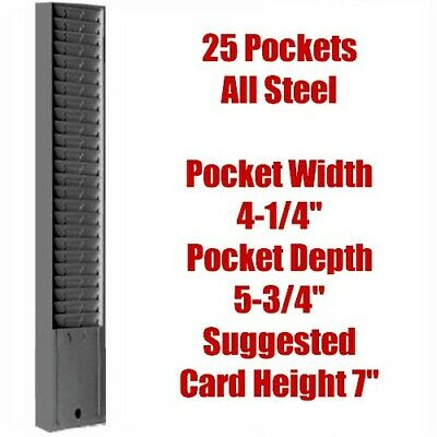 Steel Time Card Rack 25 Pockets 4-14w X 5-34 D Endure Model 176 Gray