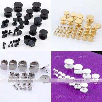 4pc 3mm Flat Round Plug Ear Studs Fake Cheater Barbell Ring Piercing Earrings  for sale  China