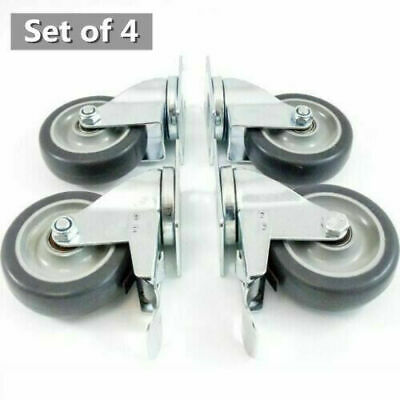 4 Heavy Duty Caster Set 4in Wheels All Swivel All Brake Casters Non Skid No Mark