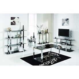 Black Glass and Chrome Frame Coffee Tables X 2 and Hall Side Table (different prices)