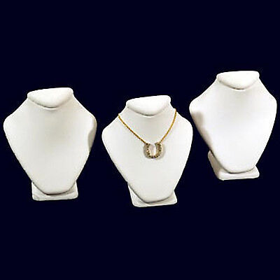 3 White Leather Necklace Jewelry Display Busts 2 58
