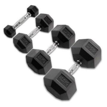 Body-Solid Hexagon Rubber Dumbbell - per Paar 25 KG Paar