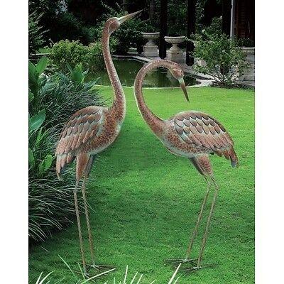 Garden Crane Pair Statues Heron Bird Sculpture Outdoor Metal Yard Art Lawn Decor