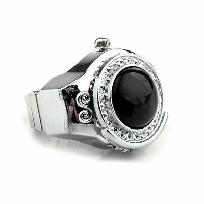 Stretchy Black Round Agate Gem Finger Ring Watch 20mm HOT LW