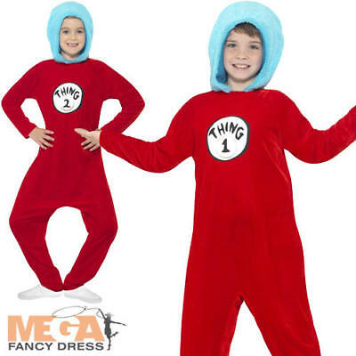 Thing 1 or 2 Kids Fancy Dress Cat in the Hat Dr Seuss Book Day Boy Girl Costume