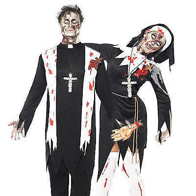 Zombie Nun or Priest Convent Halloween Fancy Dress Religious Adult Costume New