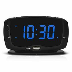 DreamSky Digital Alarm Clock Radio FM Radio, 1.4 Inches Large Blue Black+Blue