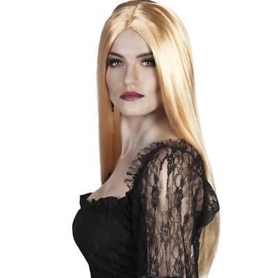 LANGE blonde PERÜCKE Langhaarperücke Hexen Vamp Gothic Kostüm Halloween 86086