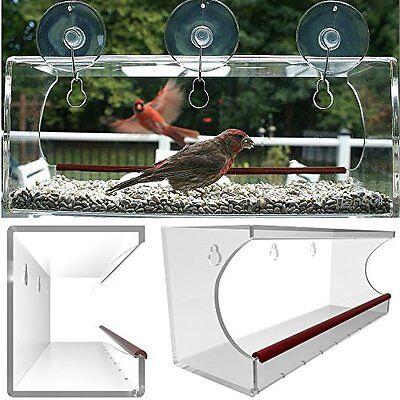 Large Feeders Clear Window Mounted Bird Feeder See Through Acrylic Design Garden
