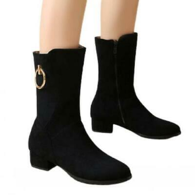 Details about  /41//42//43 Women Mid Calf Boots Round Toe Chunky Low Heel Motorcycle Shoes Pumps D