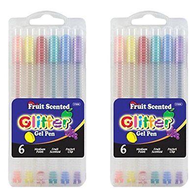 BAZIC 6 Fruit Scented Glitter Color Gel Pen w/ Case 2 Pack Total 12.](Scented Pens)