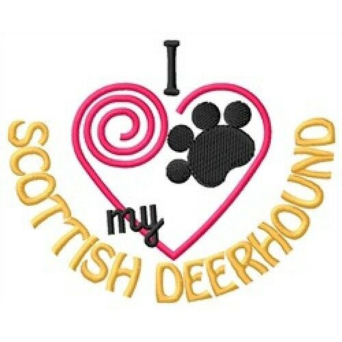 "I ""Heart"" My Scottish Deerhound Long-Sleeved T-Shirt 1329-2 Size S - XXL"