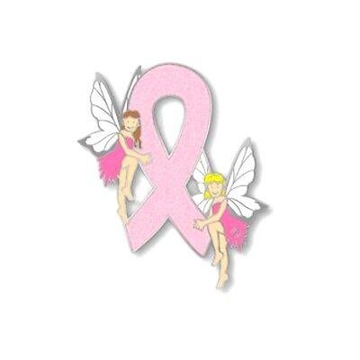Breast Cancer Lapel Pin Glitter Pink Ribbon Blonde Brunette Hair Fairies Tac New