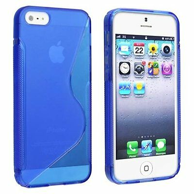 Transparent BLUE Stylish S Shape TPU Silicone Skin Case cover For iPhone 5 5th