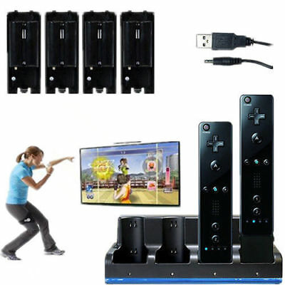 Wii Remote Controller Charger (4 Black Rechargeable Batteries Charger Dock Station for Wii Remote Controller)