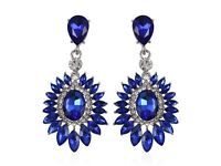 c38d52272 Simulated Blue Sapphire and White Austrian Crystal Earrings in Silver Plate