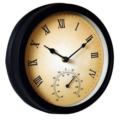 Traditional Wall Mounted Outdoor Garden & Patio Metal Clock & Thermometer