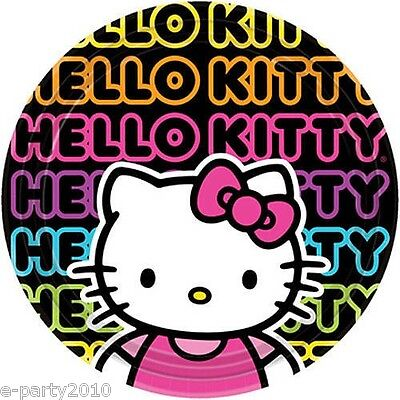 HELLO KITTY Neon Tween LARGE PLATES (8) ~ Birthday Party Supplies Dinner Lunch - Hello Kitty Party Supply
