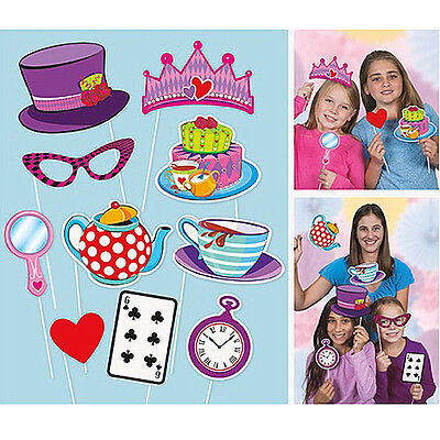 Mad Hatters Tea Party Photo Booth Props on Sticks Alice Birthday Party Selfie