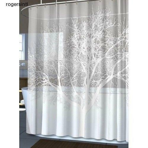 Shower Curtain Fabric Extra Long Unique Hookless Ebay
