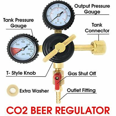 Co2 Beer Regulator Keg T-style Handle - 0 To 60 Psi-0 To 3000 Tank Pressure