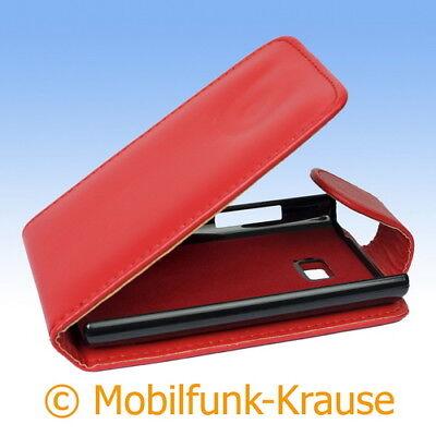 Flip Case Etui Handytasche Tasche Hülle f. LG E400 Optimus L3 (Rot) (Handy Case Lg Optimus)