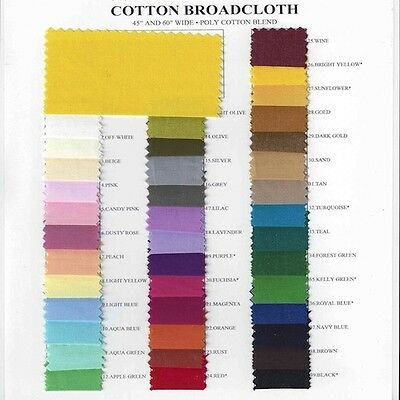 """Cotton Polyester Blend Broadcloth Fabric Apparel 45"""" Inches Solid-10 YARD BOLT"""