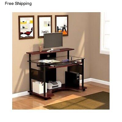 Glass Computer Desk Student Workstation Office Table Home Furniture Dorm Studio
