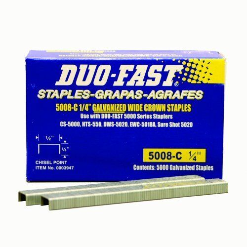 Duo Fast 5008C 20 Gauge Galvanized Staple 1/2-Inch x 1/4-Inch 5000 Pack