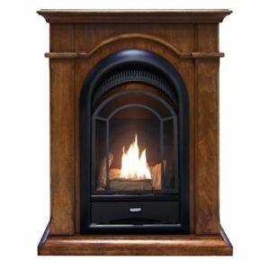 ProCom Ventless Dual Fuel Fireplace System With Corner Combo - Walnut Finish