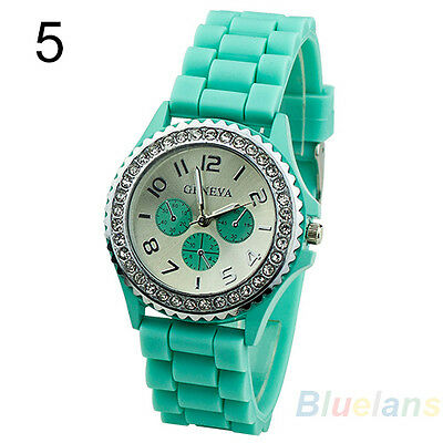 Geneva Turquoise Silicone Jelly Watch Ladies Gel Quartz Analog Sports Wrist UK