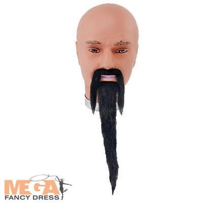 Black Wizard Beard & Tash Fancy Dress Halloween Book Chinese Man Costume Access (Male Chinese Halloween Costumes)