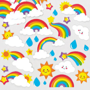 Rainbow Foam Stickers for Kid's Collage & Card Craft Decorating (Pack of 120)