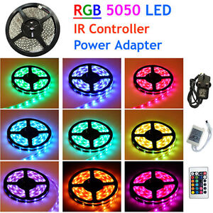 10M-5M-SMD-5050-RGB-LED-Strip-Light-Power-Supply-Adapter-IR-Remote-Waterproof