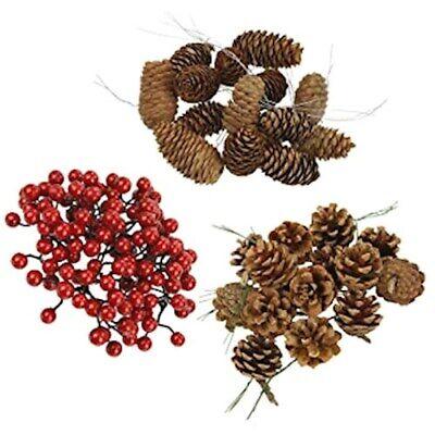 Decori Albero Natale Pigne Pino e Bacche Rosse Abete Decorazione Natalizia Legno
