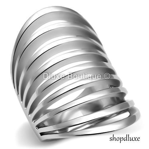 WOMEN'S SILVER STAINLESS STEEL WIDE BAND DOME FASHION RING S