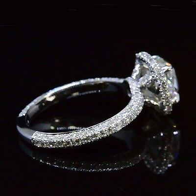 2.08 Ct Cushion Cut Diamond Halo Micro Pave Engagement Ring H,VVS1 14K GIA  1