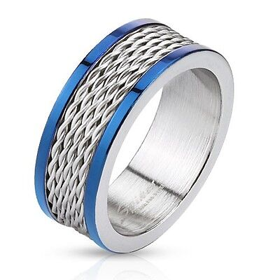 Bridal Duo Band (Men's 8mm Wedding Band Stainless Steel Wire Inlay Duo Tone Blue IP Edegs Ring )