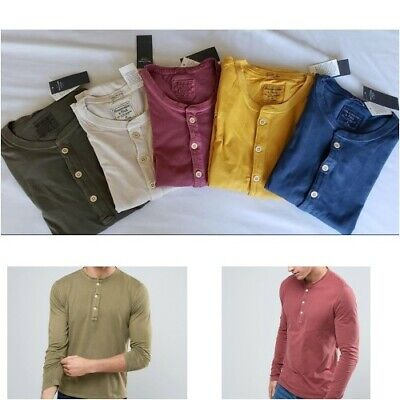Abercrombie & Fitch,Men's Garment Dyed ,Long sleeve,Henley T Shirts