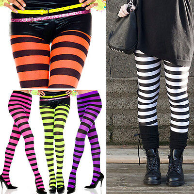 Striped Pantyhose (Opaque Black Wide Horizontal Stripe Tights Neon Rave Pantyhose Costume M-XL)