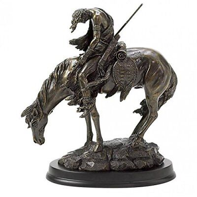 Gifts  Decor Bronze Finish The End of The Trail Hand Painted Statue Figure