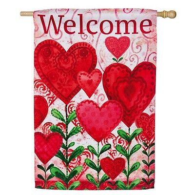 "WELCOME PLANTED VALENTINE HEARTS VALENTINE'S DAY YARD GARDEN FLAG 12.5"" x 18"""