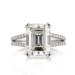 platinum emerald cut diamond ring - Emerald Cut Wedding Rings