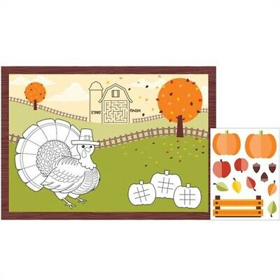 Fall Turkey Kid's Activity Placemats Thanksgiving Party Decorations Supplies